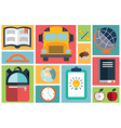 Collection of school items icons flat design long vector image vector image