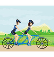 couple biking in the mountains vector image vector image