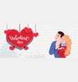 couple in love guy and girl postcard to the day vector image