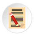 document with pencil icon circle vector image vector image