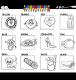 educational basic colors set for coloring vector image vector image