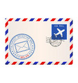 envelope with blue postmark of milan italy vector image vector image