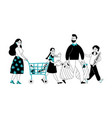 family on shopping shop market people buying vector image vector image