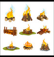 fire camp wooden fireplace bonfire light hiking vector image