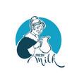 fresh milk logo template design with portrait of vector image vector image