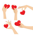 graceful woman hands holding heart design set vector image