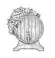 graphic wine barrel decorated with bunches of vector image