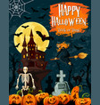 halloween greeting card with ghost house and witch vector image vector image