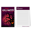 halloween notepad cover with tree vector image