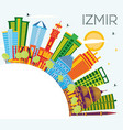 izmir turkey city skyline with color buildings vector image vector image