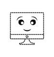kawaii computer icon vector image vector image