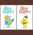 merry christmas posters congratulation from birds vector image vector image