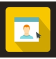 Mouse cursor pointing to a person on monitor icon vector image vector image