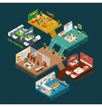 Multi Storied Shopping Mall Isometric Icon vector image vector image