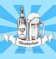 oktoberfets banner with beer bottle and goblet vector image