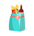 paper shopping bag with bottle wine and gift vector image vector image