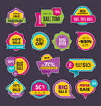 promo stickers discount badges or labels price vector image