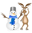 reindeer and snowman vector image