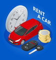 renting a new or used car vector image vector image
