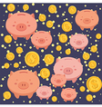 Seamless Pattern Piggybank Blue vector image vector image