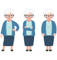 senior elderly gray haired woman on a white vector image vector image