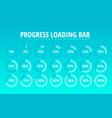 set circular progress loading bar blue vector image vector image