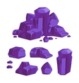 set purple crystals white background vector image