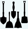 Shovels broom and dustpan vector image vector image