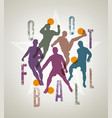 silhouettes of soccer players doing feints vector image vector image