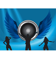 silhouttes dance on big speaker and wings vector image vector image