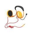 wireless headset yellow headphones with vector image