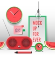 Workspace mock up red objects vector image vector image