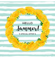 wreath dandelions isolated summer flowers hello vector image vector image