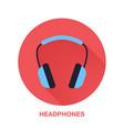 headphones flat style icon wireless technology vector image