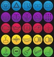 Car Dashboard Icon Set Gradient Line vector image