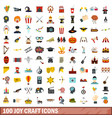 100 joy craft icons set flat style vector image vector image