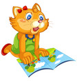 a cat reading book vector image vector image
