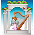 Angel with harp in heaven vector image vector image