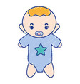 baby boy with pacifier and hairstyle vector image vector image