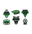 badges set soccer tournament vector image vector image