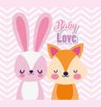 bashower love cute fox and rabbit cartoon vector image vector image