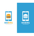 burger and phone logo combination vector image vector image