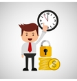 business man secure money coins clock vector image vector image