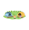 camp in forest semi flat vector image vector image