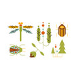 collection of insects and trees nature and vector image vector image