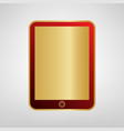 computer tablet sign red icon on gold vector image vector image