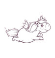 cute unicorn monochrome vector image vector image