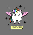 fantasy animal horse unicorn on rainbow b vector image vector image