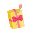 festive holiday yellow gift box with overwhelming vector image vector image