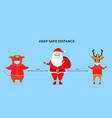 funny christmas deer ox and santa claus wear vector image vector image